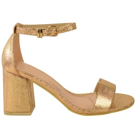 mid heel sandals with ankle new womens low mid heel block peep toe ankle