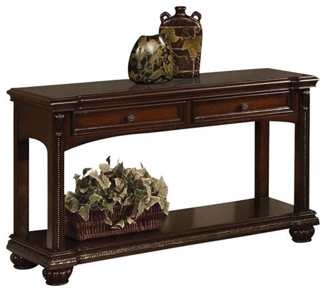 accent sofa table transitional cherry 2 drawer accent sofa console table w