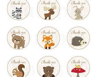 theme line forest friend woodland forest animal baby red foxbaby shower favor tags