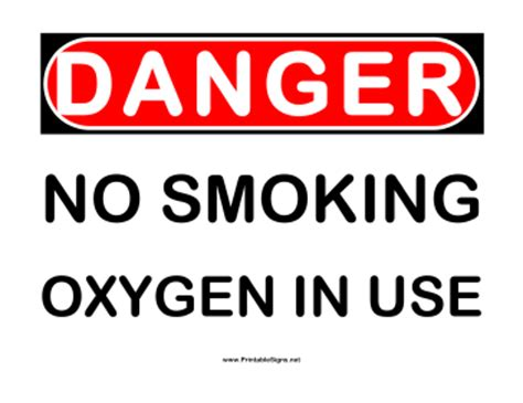 no smoking oxygen signs printable printable danger no smoking oxygen in use sign