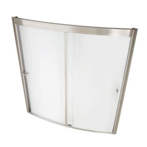 Home Depot Bathtub Shower Doors American Standard Ovation 60 In X 58 In Framed Bypass Tub Shower Door In Satin Nickel Am00496