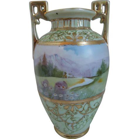 Nippon Porcelain Vase by Nippon Painted Porcelain Vase With Landscape Gilt Work From Merrimanantiqueanddesign