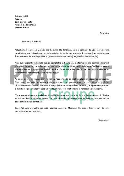 Conseil Lettre De Motivation Finance lettre de motivation pour un stage en comptabilit 233 finance