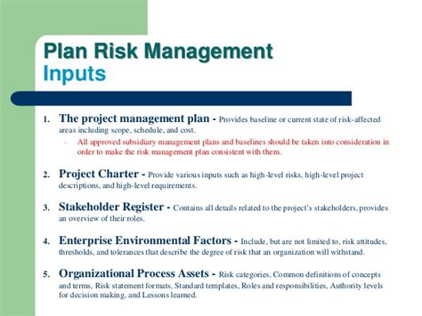 pmbok risk management plan template pmbok 5th planning process part four project risk