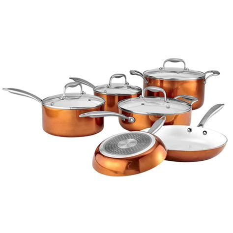 Kids Valances Gourmet Living 10 Piece Ceramic Cookware Set With Copper