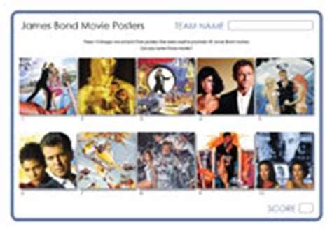 film themed quiz team names james bond movie posters