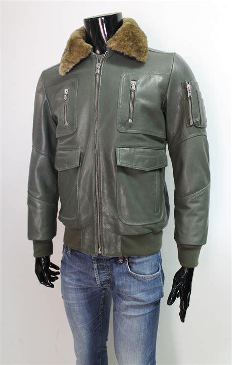 olive color jacket menaviator jacket color army olive green sheepskin fur