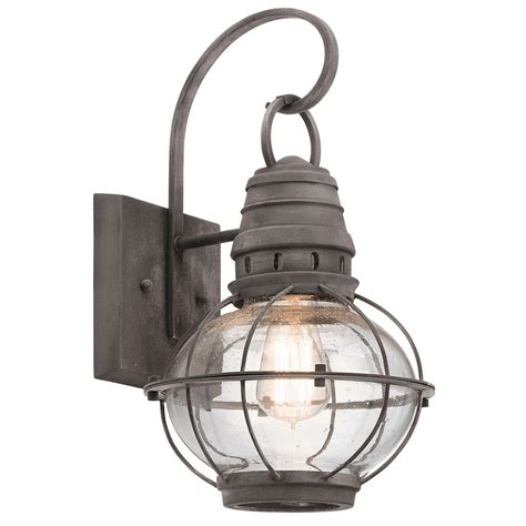 Outdoor Lighting Nautical Kichler 49628wzc Bridge Point Nautical Weathered Zinc Outdoor Medium Wall Sconce Light Kic