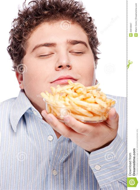 Chubby Man With French Fries Royalty Free Stock Photography   Image: 22610947