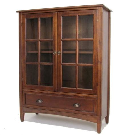 Glass Bookcase With Doors Wayborn 1 Shelf Barrister W Gls Dr Brown Bookcase Ebay