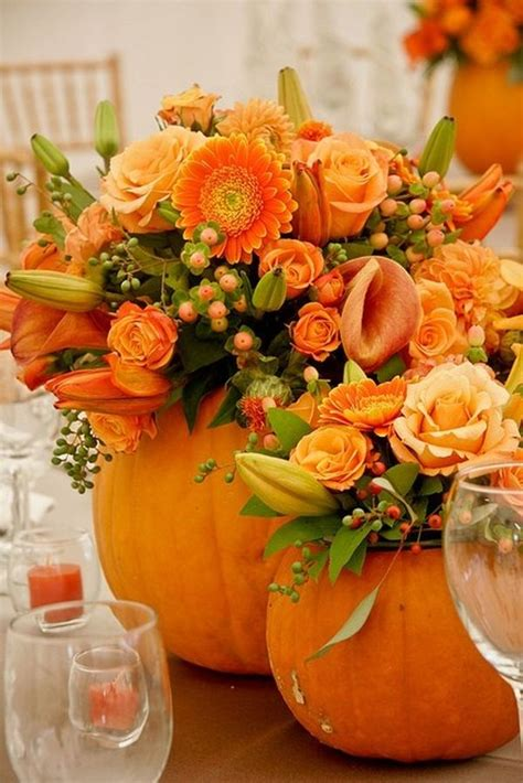 20 Centerpiece Ideas For Fall Weddings Pumpkin With Flowers Centerpieces