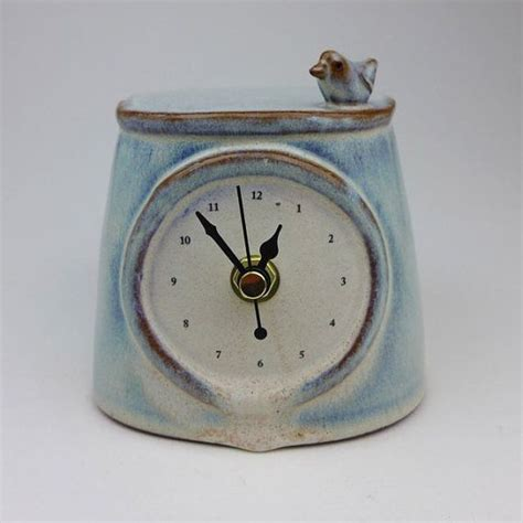 Handmade Ceramic Clocks - handmade ceramic clock with bird ceramics clock and the