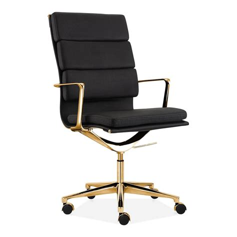 gold desk chair cult living black and gold high back pad office chair