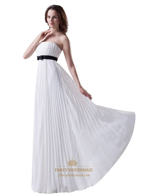 Strapless Bridesmaid Dress white strapless crinkle chiffon bridesmaid dress with