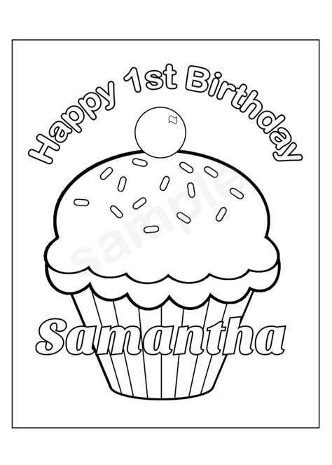 birthday coloring pages pdf personalized printable birthday cupcake cup cake party