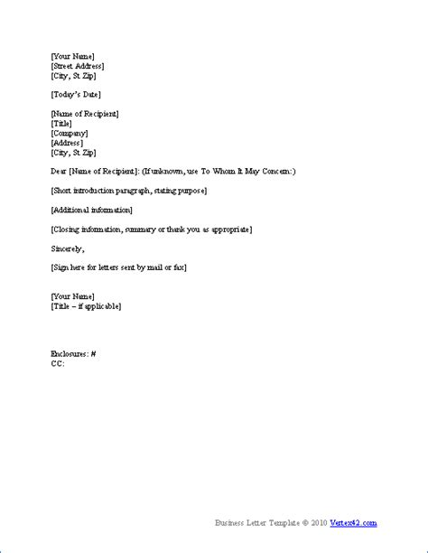 Business Letter Template In Word Business Letter Template For Word Sle Business Letter