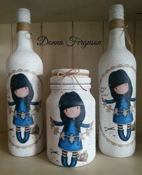 Decoupage Bottle Ideas - gorjuss decoupage bottles and jar decoupage