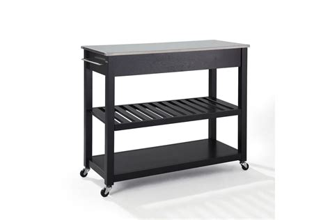 stainless steel top kitchen cart island in black finish stainless steel top kitchen cart island with optional