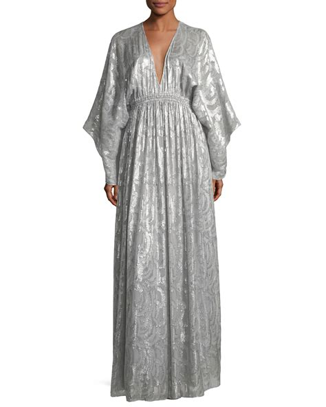 Elizabeth Kaftan Dress elizabeth raquel v sleeve silk metallic