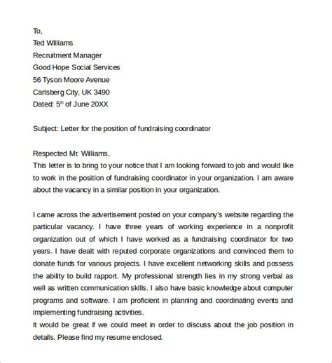 cover letter exles for charity work sle cover letter exle for 13 free