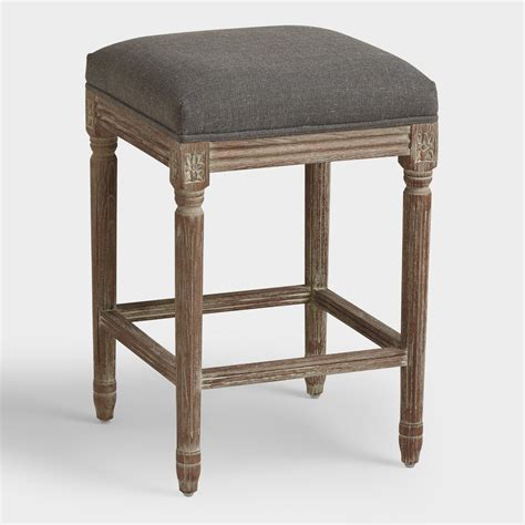 Charcoal Linen Counter Stool charcoal linen backless counter stool world market