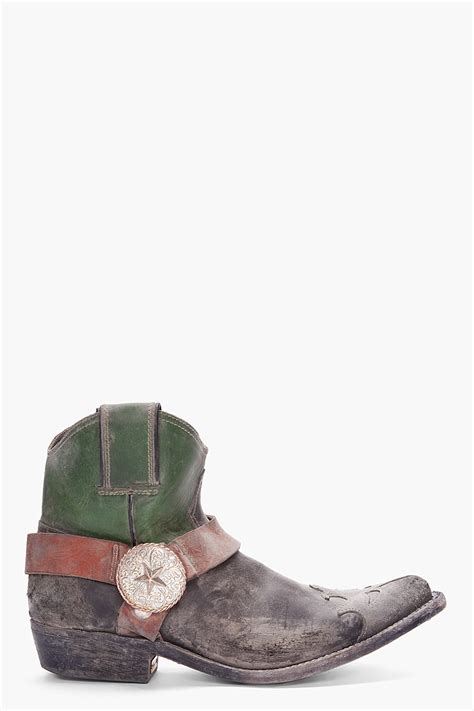 Golden Goose Cowboy Boots by Golden Goose Deluxe Brand Green Combo Cowboy Boots In