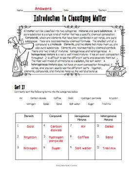 Introduction To Science Worksheet by Introduction To Classifying Matter Worksheet By Adventures