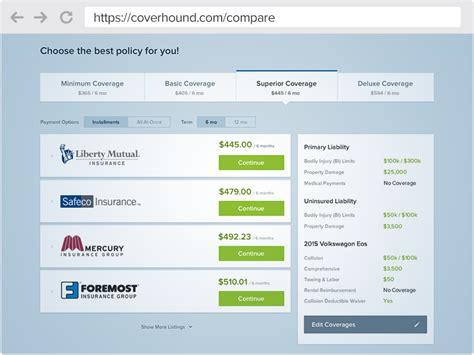 compare auto insurance quotes  confidence coverhound