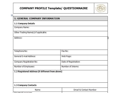 sle of business company profile template excel tmp