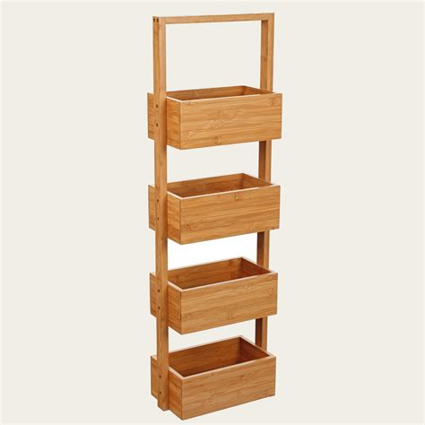 bamboo shelf unit bathroom shelf unit with four baskets