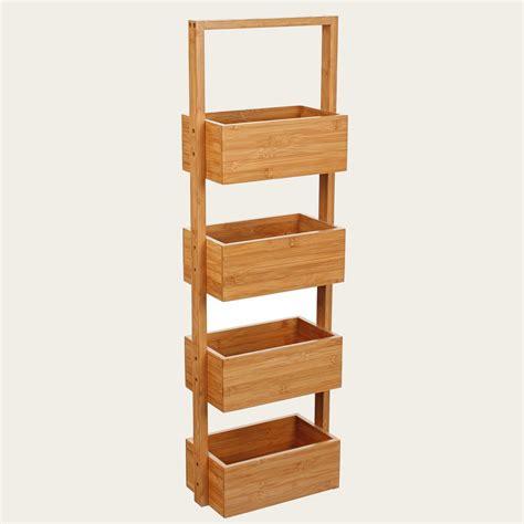 Bamboo shelf unit bathroom shelf unit with four baskets new ebay