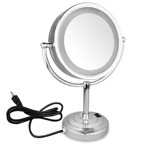 makeup mirror stand with lights 10x magnification double sided cosmetic led lighted vanity