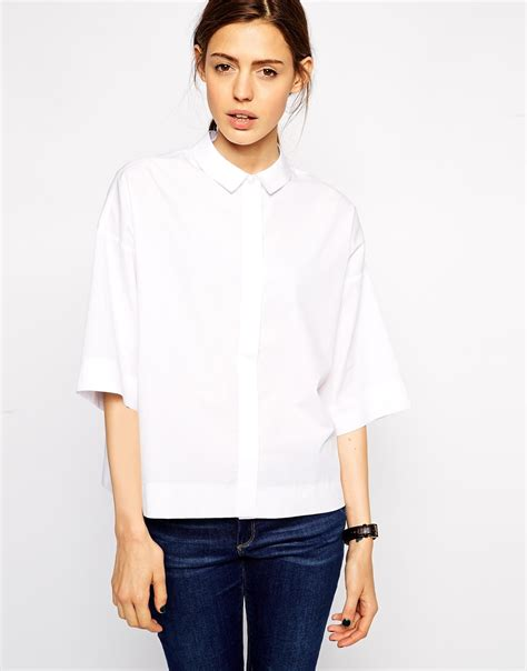 Boxy Shirt asos boxy shirt in white lyst