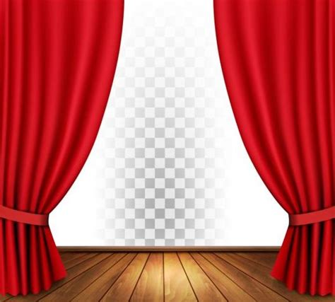red curtain vector red curtain and wood floor with art background vector