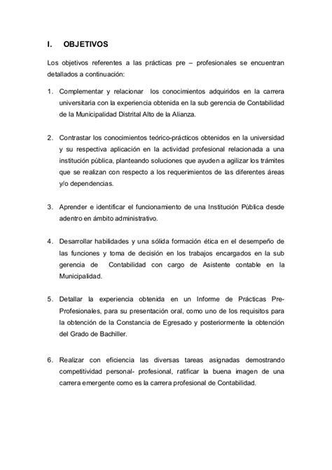informe practicas pre profesionales en contabilidad trabajo de informe de practica contabilidad 2015