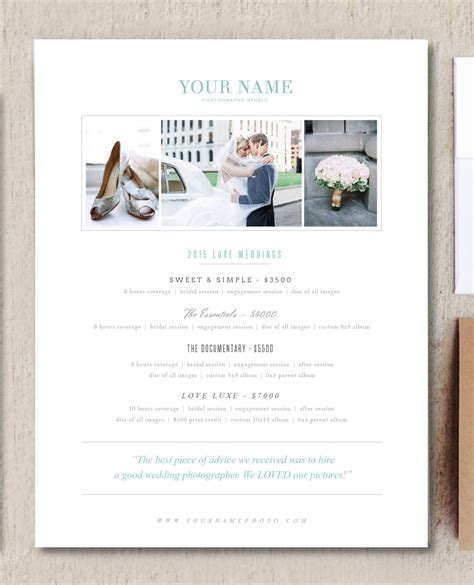 price list brochure template wedding photographer pricing guide brochure templates on