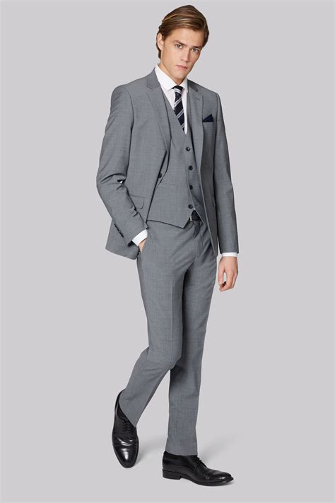 light gray fitted suits moss london mens performance skinny fit light grey 2 piece
