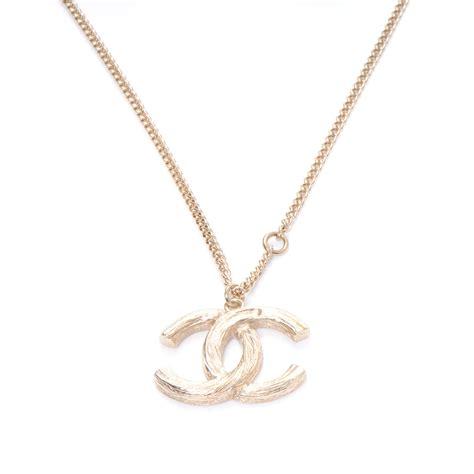 chanel cc logo necklace gold 50773