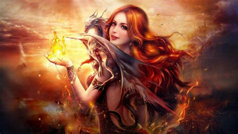 wallpaper dragon fire girl fantasy