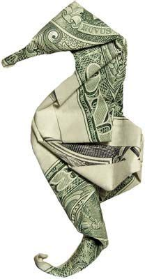 Cool Dollar Bill Origami - cool seahorse note money origami