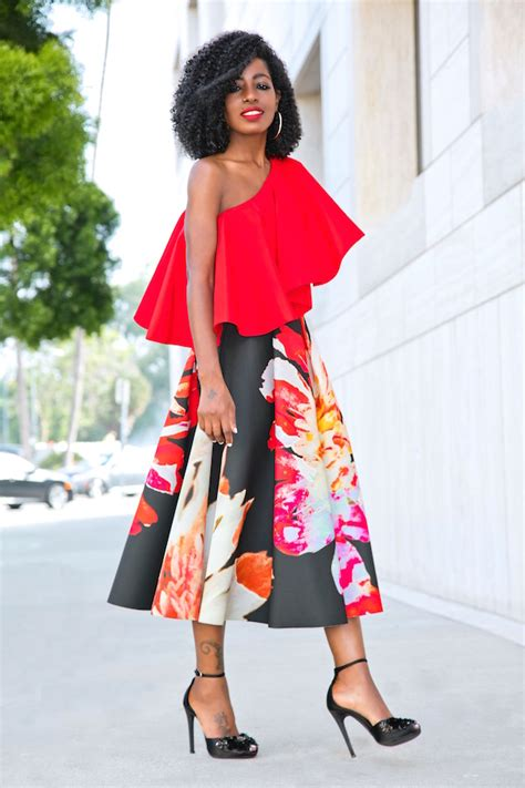 Pleated Floral Midi Skirt style pantry ruffled one shoulder top floral pleated