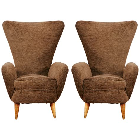 pair of armchairs pair of high armchairs italy 1950 s for sale at 1stdibs