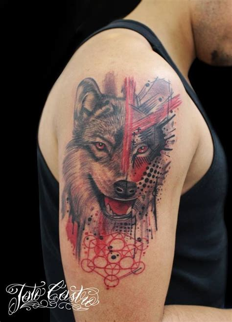 tattoo modern gallery modern style colored shoulder tattoo of big wolf with