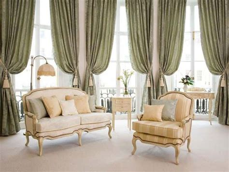 Drapes For Large Windows Decorating Brown Stained Wooden Large Glass Window Using Flower Pattern Curtain On Stainless Steel