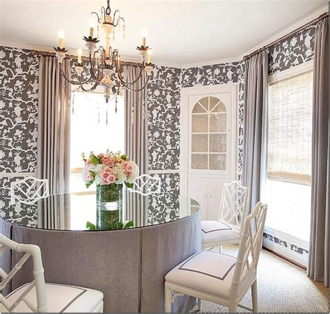 pretty dining rooms the dining room is so pretty wallpapered in the same toile with a skirted table