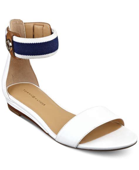 hilfiger wedge sandals hilfiger womens paisley wedge sandals in white lyst