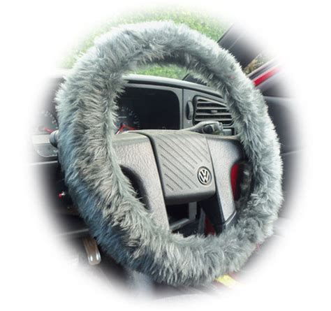 gray hair is fuzzy fuzzy dark grey furry faux fur car steering wheel cover on