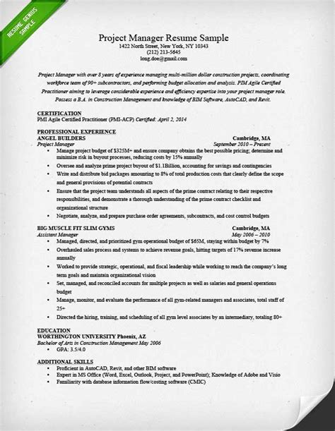 project manager resume template project manager resume sle writing guide rg