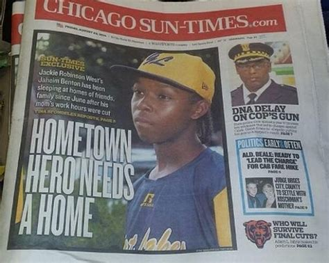 chicago sun times sports section homeless jackie robinson west little leaguer gets rent