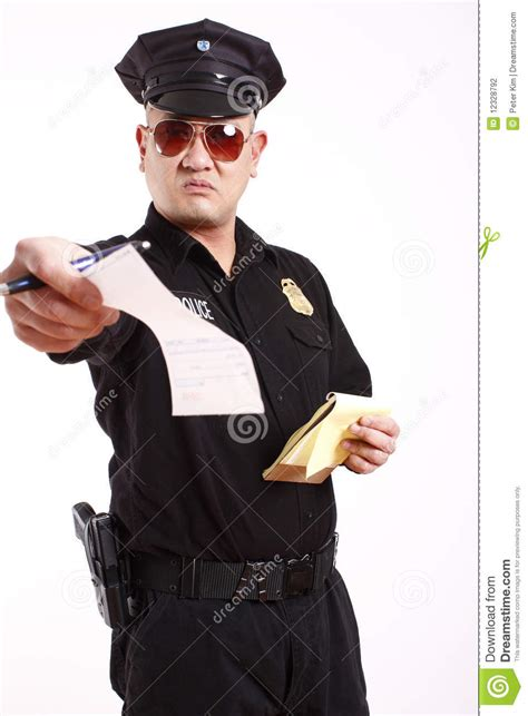 officer giving citation stock photography image